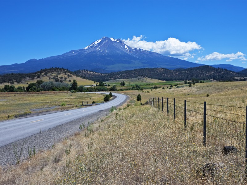 Country road with Mt. Shasta, California