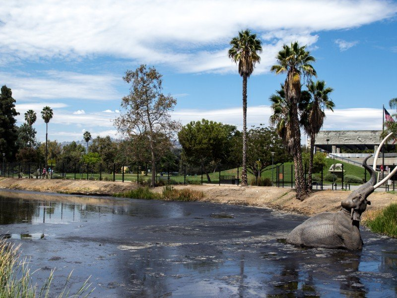 Mammoth sculpture at the La Brea Tar Pits in Los Angeles