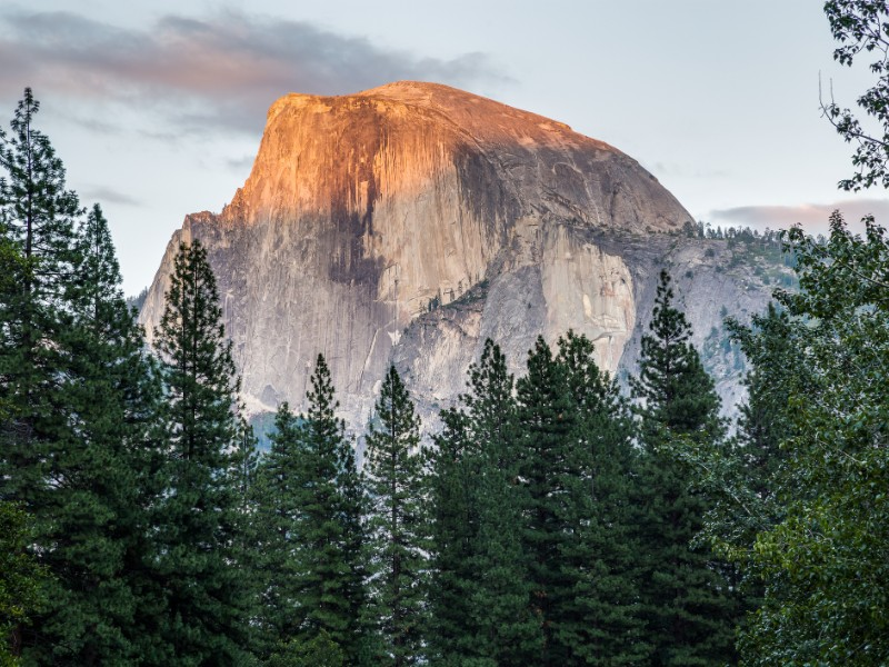Half Dome at sunset in Yosemite National Park