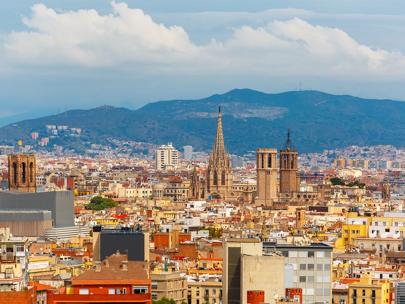 Barcelona with Montjuic Mountain in the background