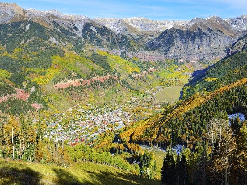 View of Telluride and the surrounding mountains