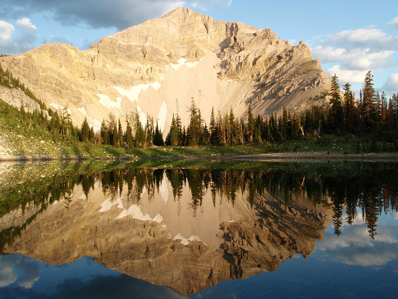 Pentagon Mountain and Dean Lake in Bob Marshall Wilderness, Montana