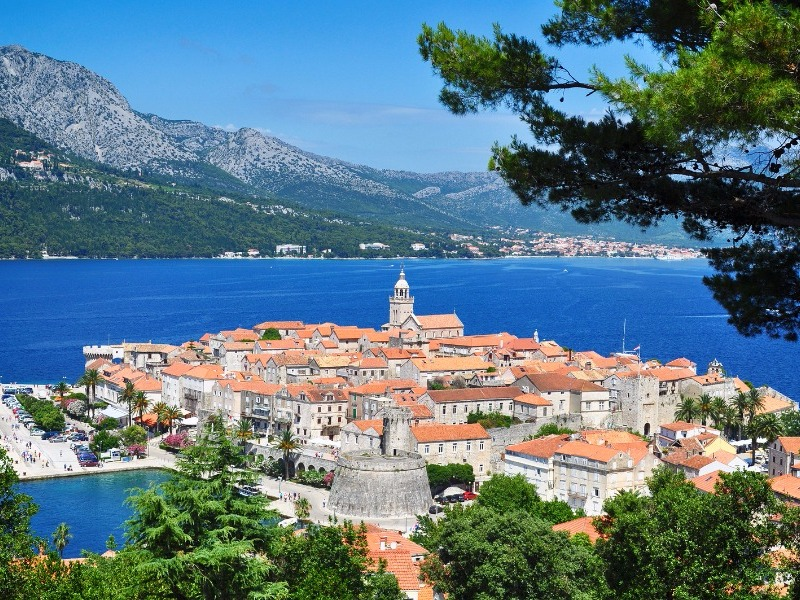 beautiful Korcula Island, the alleged birthplace of Marco Polo in Croatia