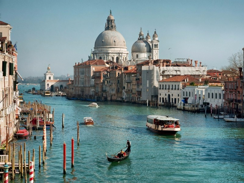 View of the canals, boats in Venice, Italy