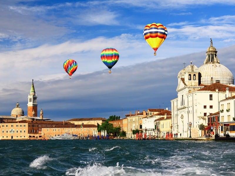 Hot air balloons in Venice, Italy