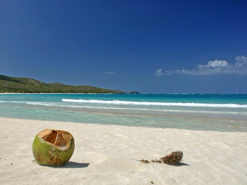 Nearly empty white sand beach in Puerto Rico