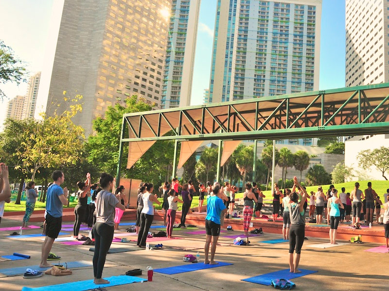 Bayfront Park Free Yoga Classes, Miami