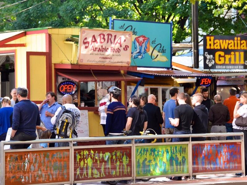Food trucks in downtown Portland
