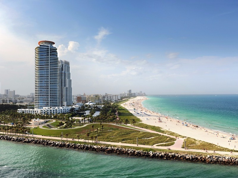 Miami Beach with luxury apartments and waterway