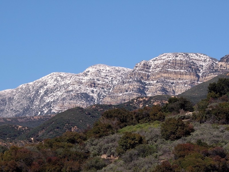 Topa Topa mountains with snow near Ojai