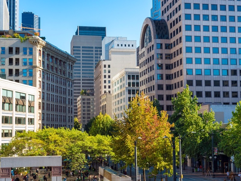 Westlake Park in the heart of downtown Seattle