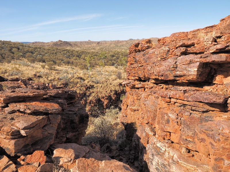 Trephina Gorge seen from the ridge east MacDonnell ranges near Alice Springs