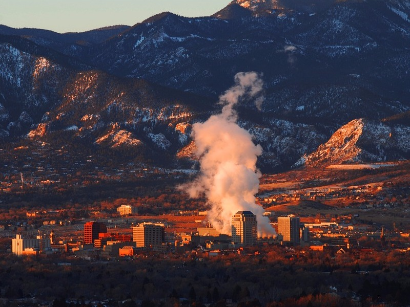 Downtown Colorado Springs at sunrise