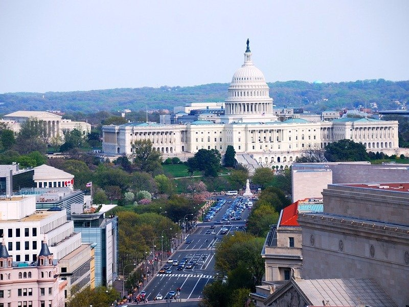 Washington DC aerial view with Capitol Hill and street