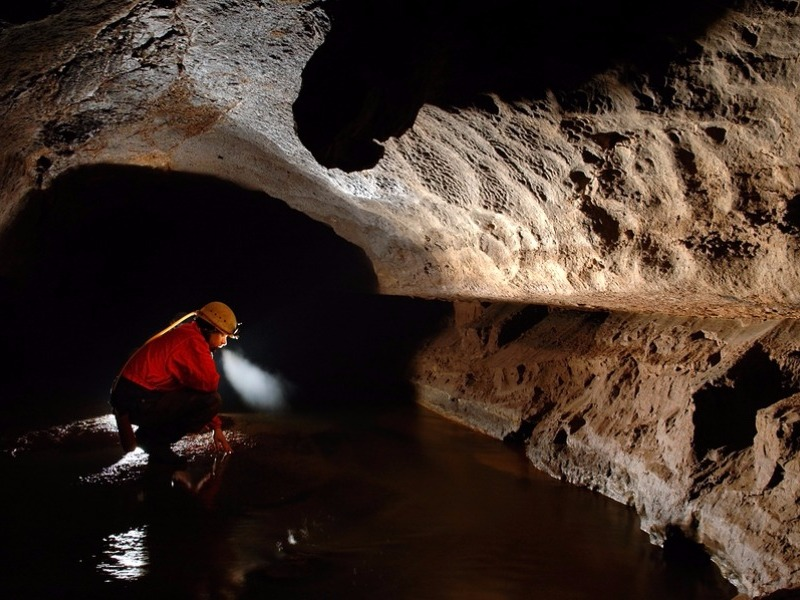 Spelunker exploring the underground