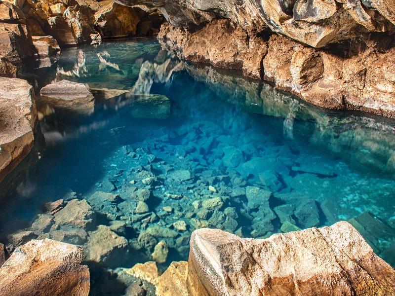 Volcanic cave Grjotagja, Iceland