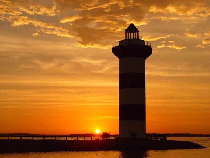 Sunset and lighthouse taken at Lake Conroe