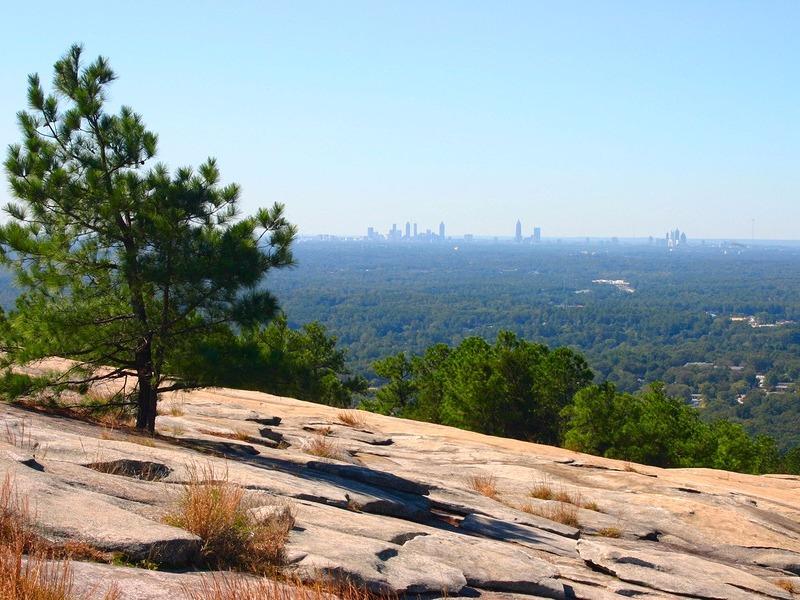 Summit of Stone Mountain with Atlanta skyline