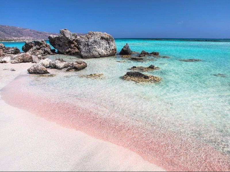 Elafonisi pink sand beach, Crete, Greece