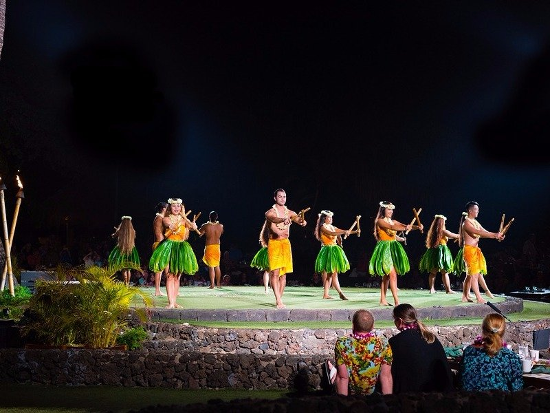 Dancers Performing at a Luau on the Island of Maui