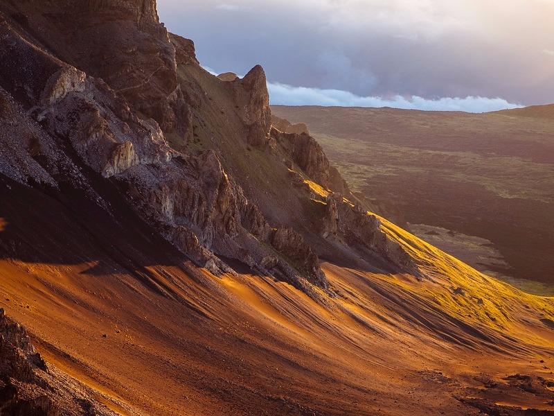 Volcanic landscape at Haleakala National Park during sunrise