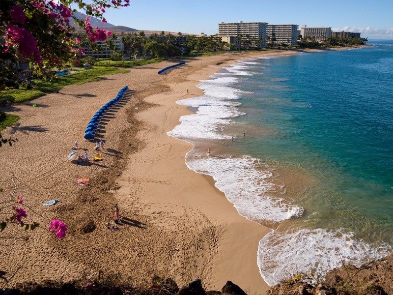 A view from a cliff looking down on Ka'anapali Beach
