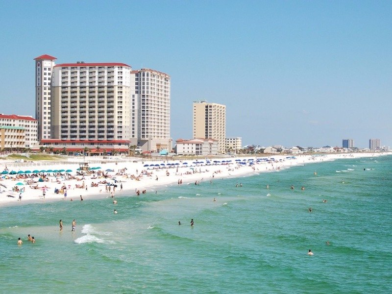 Looking down the coast on Pensacola Beach