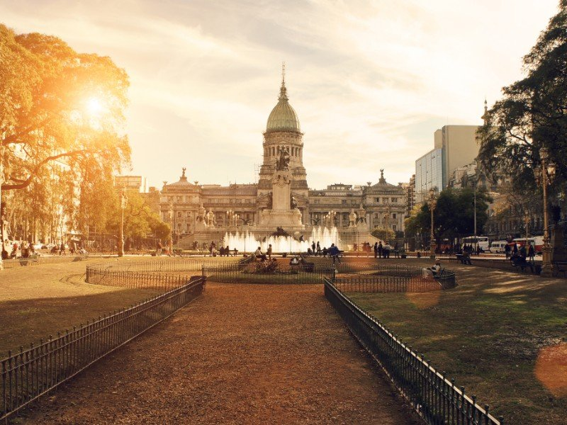 Buenos Aires, National Congress building at sunset.
