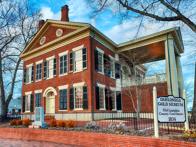 Dahlonega Gold Museum and historic Lumpkin County Courthouse in Dahlonega
