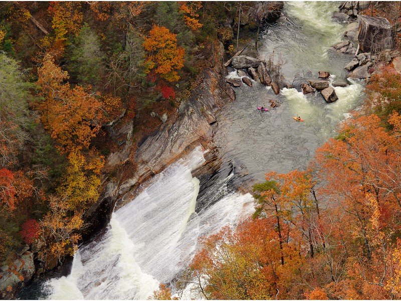 Kayakers contemplate a rapid at Tallulah Gorge in Northeast Georgia