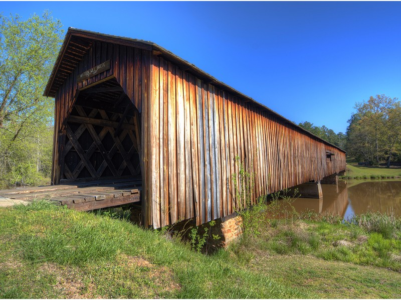 Historic covered bridge at Watson Mill Bridge State Park near Comer in Northeast Georgia
