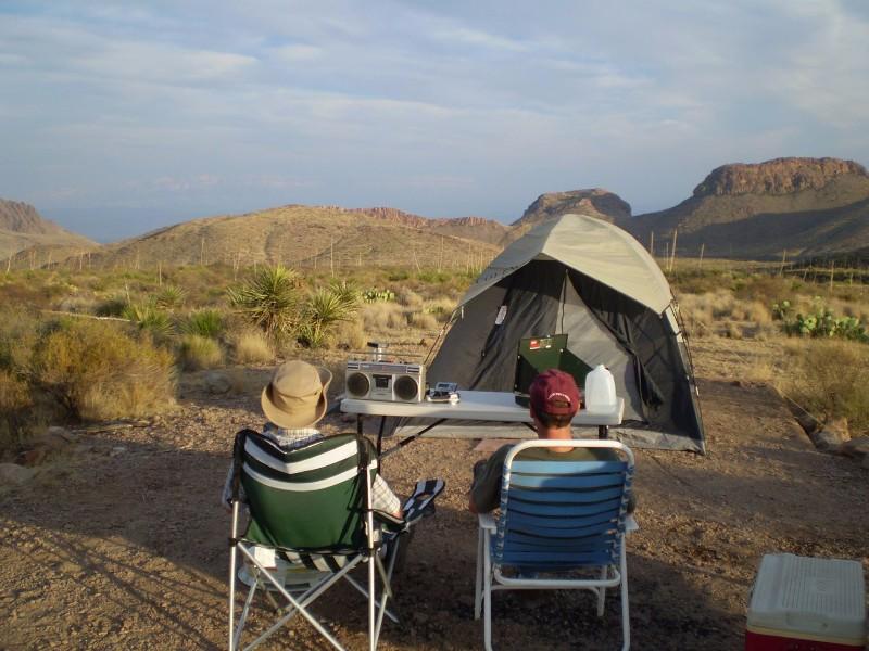 Camping at one of Big Bend's primitive roadside campsites
