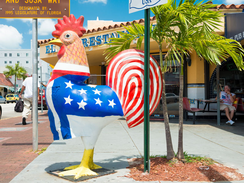 Painted rooster on Calle Ocho, Little Havana, Miami