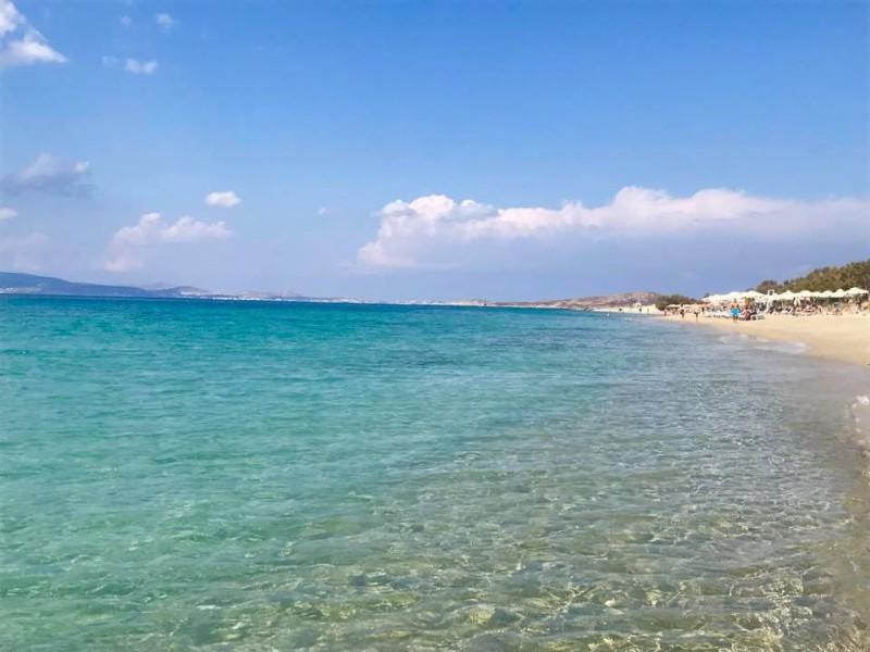 Beautiful clear waters at Plaka Beach, Naxos, Greece