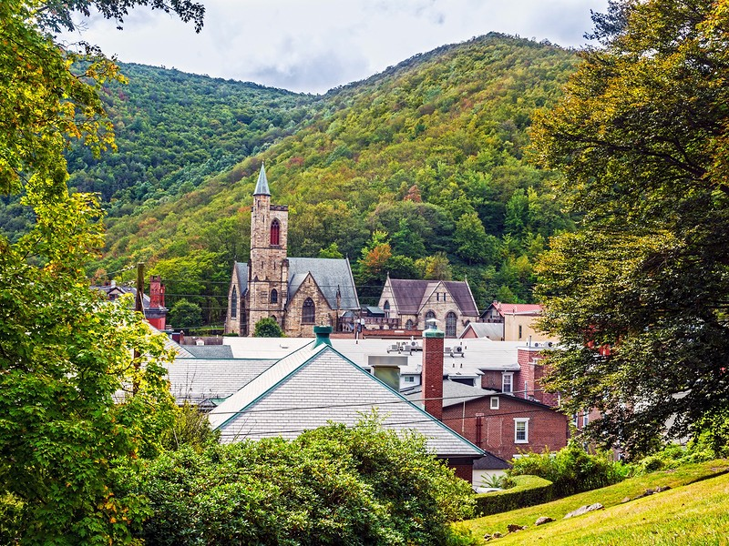 Historic old buildings and the scenic landscape of Jim Thorpe