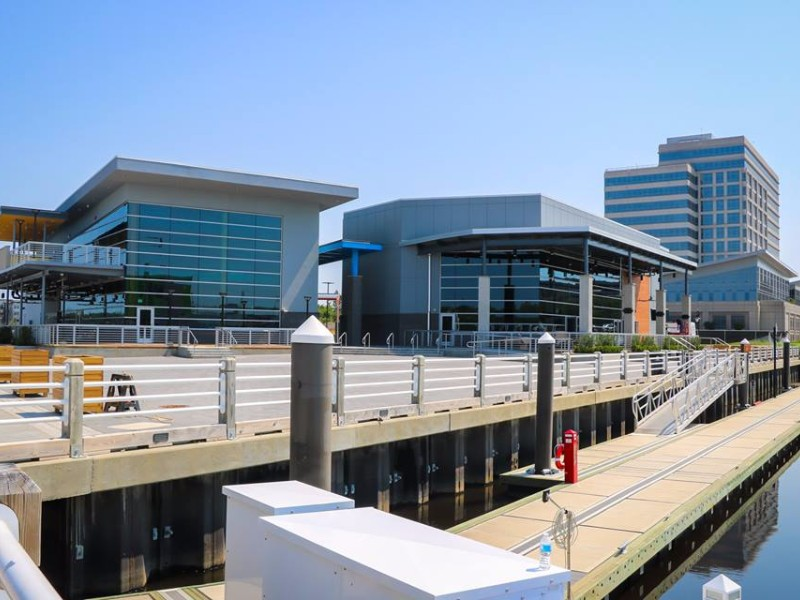 The newest part of the Riverwalk includes a concert space and restaurants.