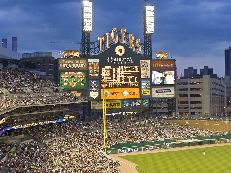 MLB's fans pack Comerica Park for a Tigers game.