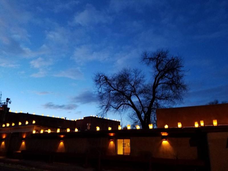 Night scene at the Las Palomas Inn Santa Fe