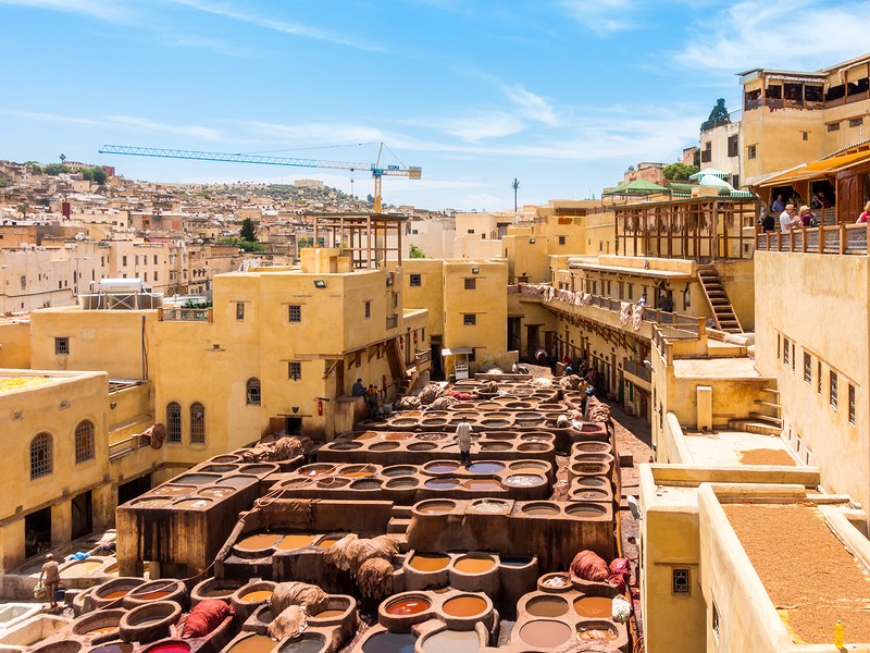 Workers are dyeing leather at the tannery in Fez Fes el Bali Morocco Africa