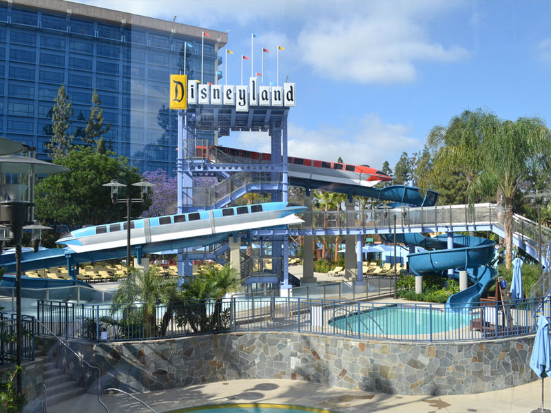Monorail and Water Slides at the Disneyland Hotel