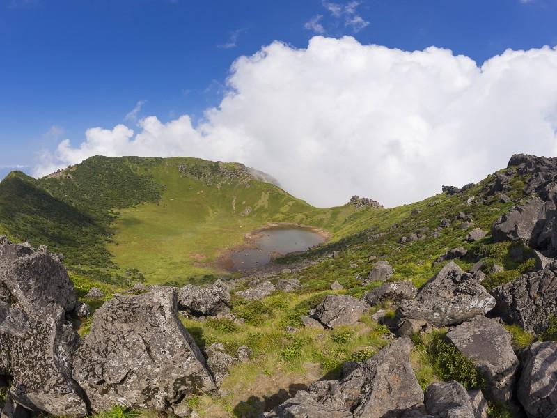 Hallasan volcano crater on Jeju Island in South Korea.