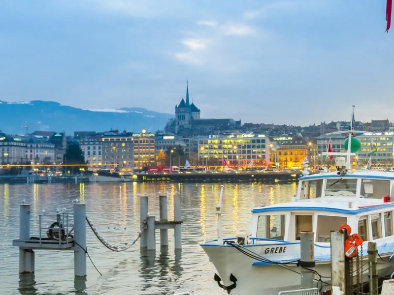 Lake Geneva and view of Geneva city, Switzerland
