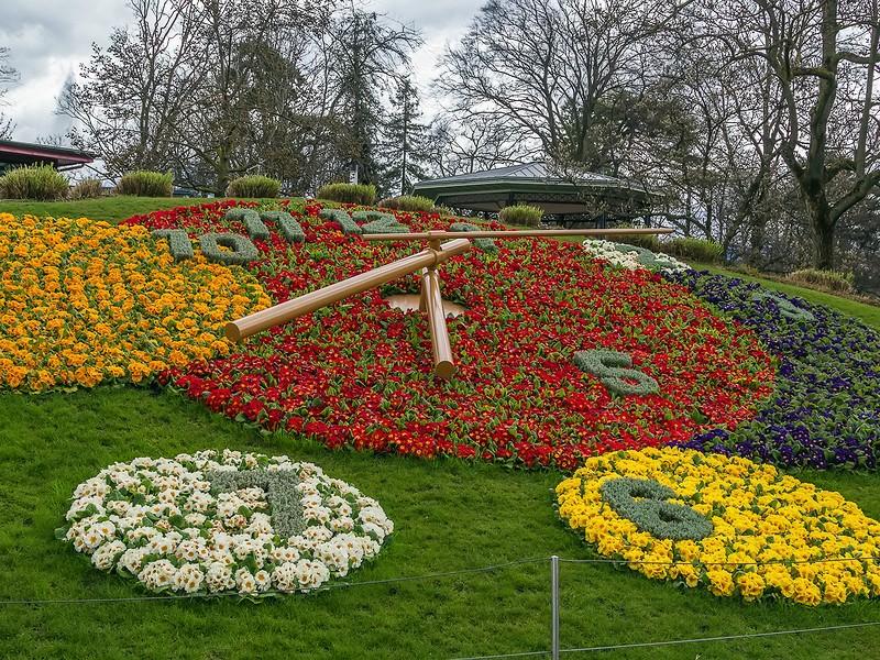 Flower clock in Geneva near the waterfront of Lake Geneva Switzerland