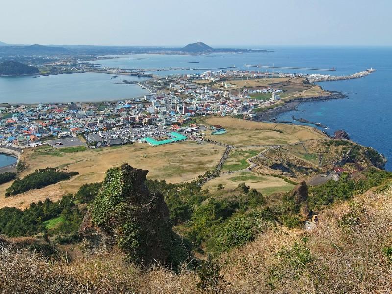 Jeju city skyline view from Seongsan Ilchulbong Jeju Island South Korea