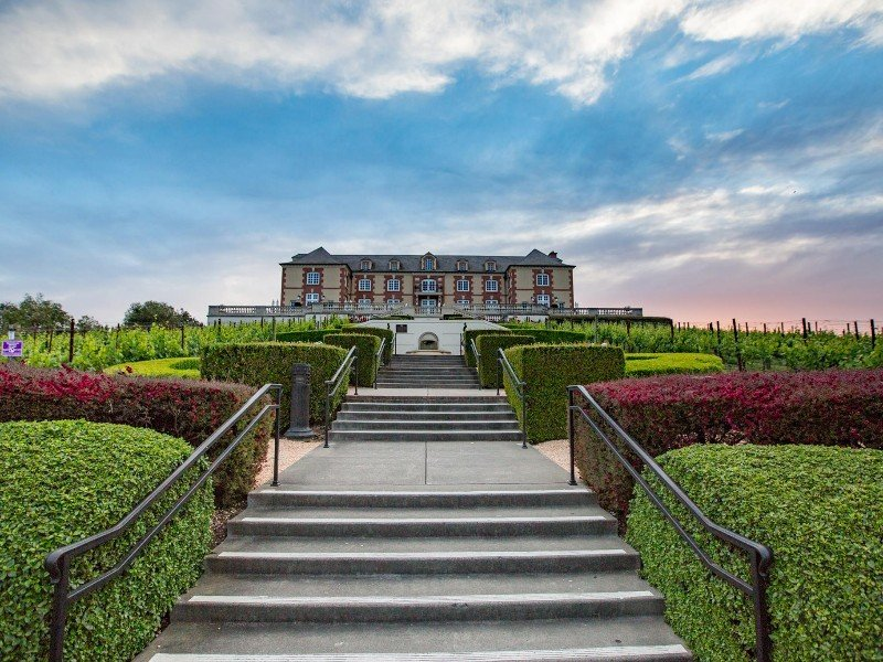 Walking up the stairs to Domaine Carneros Winery