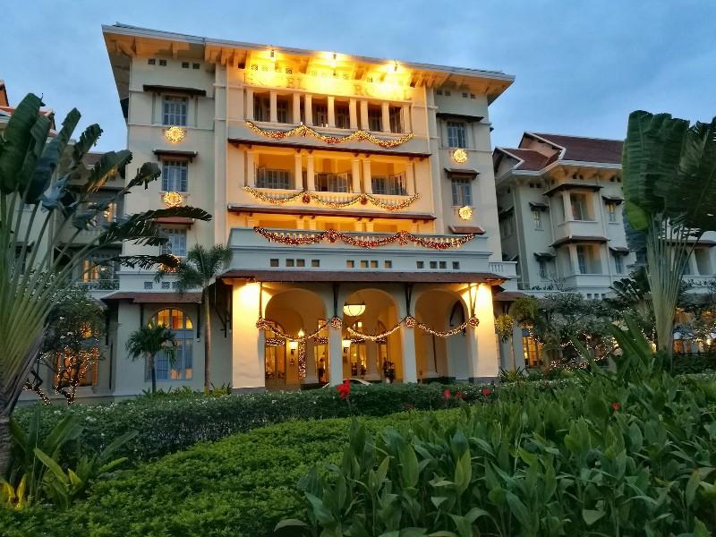 Elegant exterior of  Raffles Hotel Le Royal