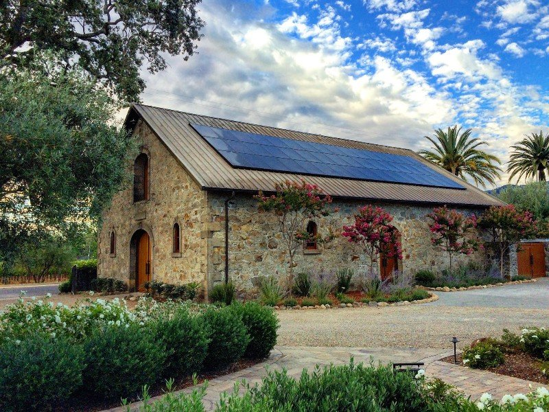 Stone winery building at Spottswoode Winery