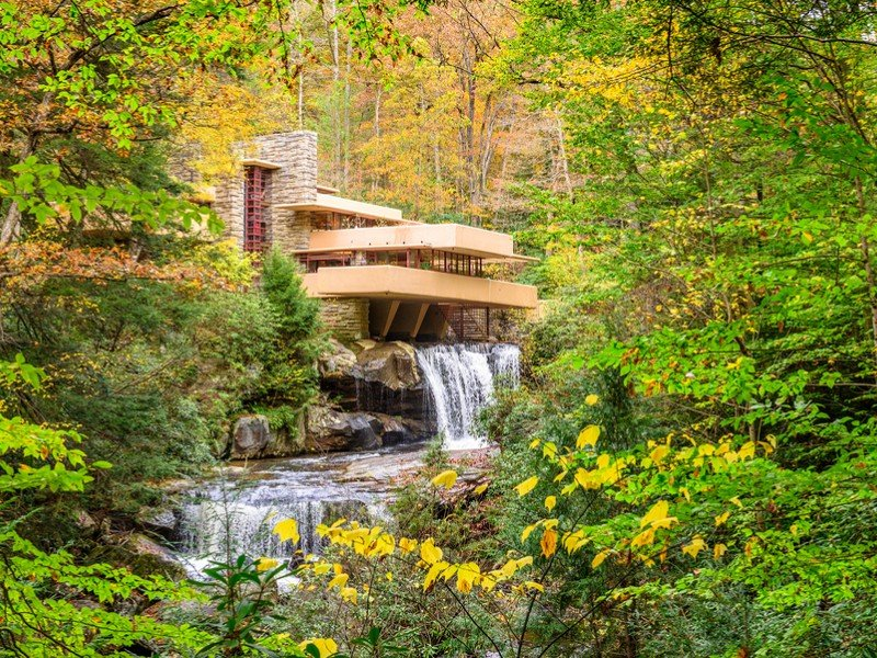 Fallingwater over Bear Run waterfall in the Laurel Highlands of the Allegheny Mountains near Mill Run