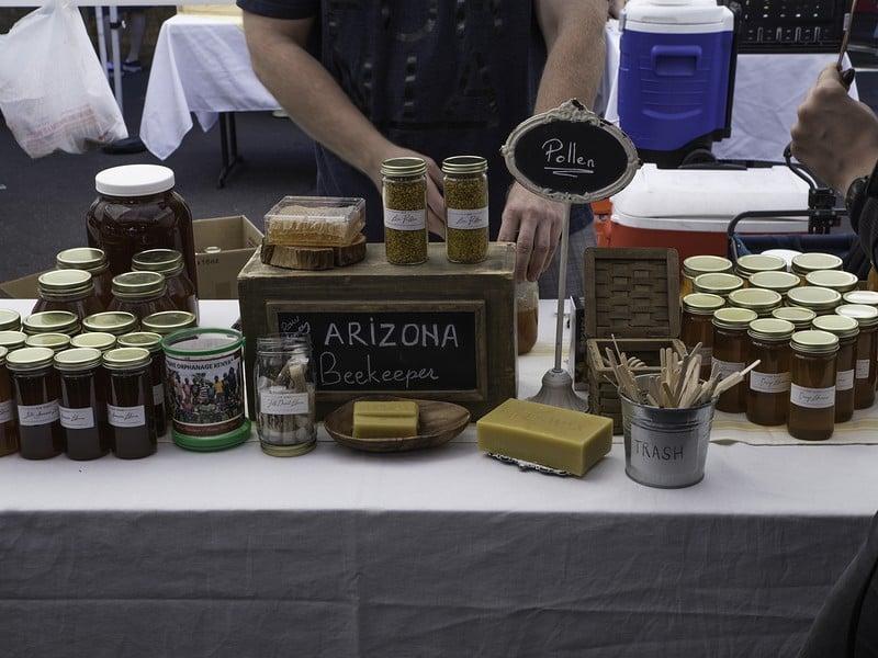 Arizona Beekeeper raw honey booth at the Phoenix Public Market held every Saturday morning