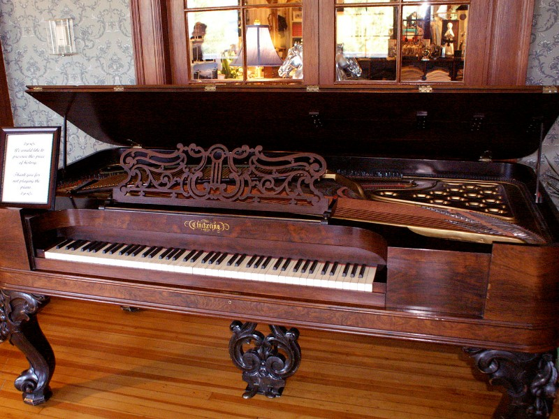 antique Chickering piano at the Stanley Hotel, Estes Park
